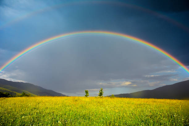 Beautiful bright double rainbow in a field after the rain